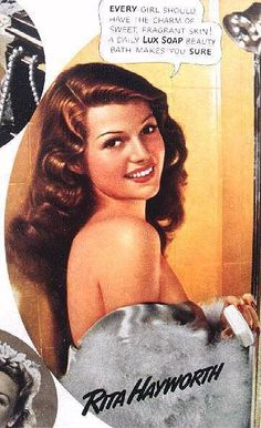 Rita Hayworth for Lux soap......Uploaded By www.1stand2ndtimearound.etsy.com
