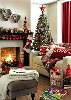 Christmas living room. Love the floors, love seat, and the tree in the corner.
