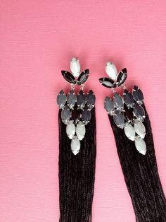 OMBRE black fringe earrings by LOLAjewelryd on Etsy