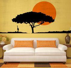 Safari Landscape Vinyl Decal  African Safari With by KellonDesigns, $44.99