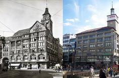"""Das Geschäftshaus """"Wilhelmsbau"""" von 1906 im Wandel der Zeit. Das Foto links zeigt den ursprünglichen Zustand von 1938, rechts sieht man den stark veränderten Zustand der Nachkriegszeit. Foto: VZZZ-Chronist Volker Dirk Hiller"""