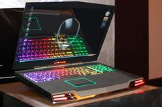 Alienware...I sat next to a guy on the train this morning who had one of these...he gave me a little run down...super crazy awesome light affects!!! boys have good toys!