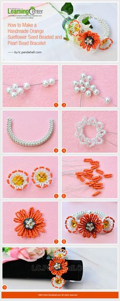 Tutorial on How to Make a Handmade Orange Sunflower Seed Beaded and Pearl Bead Bracelet from LC.Pandahall.com
