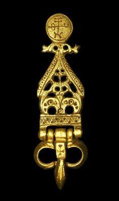 Bizantino de oro a cielo abierto de la hebilla del cinturón, del siglo séptimo dC
