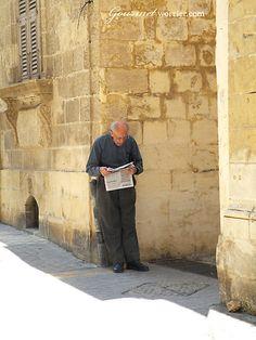 Morning paper in Victoria, Gozo. │ #gozo gozovillarentals.com
