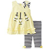 Bonnie Baby Baby-Girls Newborn Bumblebee Applique Seersucker Top To Knit Capri
