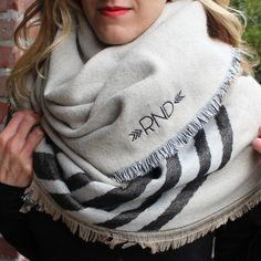 Monogrammed Blanket Scarf Neutral Stripes How To Wear Headbands, How To Wear Scarves, Chunky Scarves, Fall Scarves, Fall Fashion Trends, Autumn Fashion, How To Wear A Blanket Scarf, Monogrammed Scarf, Bridesmaid Shirts