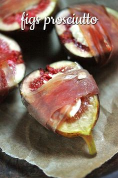 Figs Prosciutto   SoupAddict.com - fresh, juicy figs stuffed with goat cheese and wrapped in prosciutto.  Simple by decadent appetizer!
