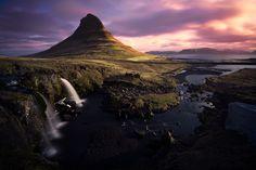 Stunning Sunrise at the Kirkjufellfoss in Iceland.
