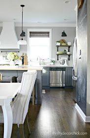 Thrifty Decor Chick's gray and white DIY kitchen renovation featuring an extended island, additional lighting, extended cabinets and a two tone look. Kitchen On A Budget, Kitchen Dining, Kitchen Decor, Kitchen Ideas, Kitchen Cabinets, Kitchen Layout, Cupboards, Dining Rooms, White Diy Kitchens