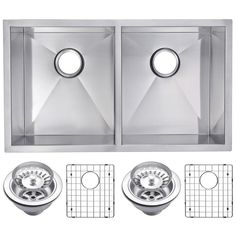 Undermount Stainless Steel 31 in. 50/50 Double Bowl Kitchen Sink with Strainer and Grid in Satin