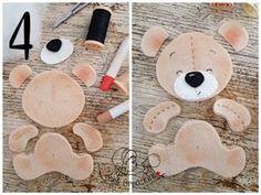 blend with pink fabric (Tutorial ) Felt Animal Patterns, Felt Crafts Patterns, Stuffed Animal Patterns, Baby Crafts, Diy And Crafts, Crafts For Kids, Felt Fabric, Pink Fabric, Teddy Bear Crafts