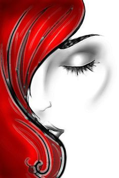 I really like the simplicity of this illustration - if you know who the artist is, please leave a comment. This always makes me think of my girl, Heidi! Arte Pop, Black Art, Painting Inspiration, Tattoo Inspiration, Painting & Drawing, Lady Drawing, Pop Art, Red And White, Red Black