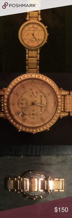 Michael Kors Rose Gold Watch Michael Kors watch. The watch is very stunning. All of the stones are in place. The battery is dying, you will need a new battery. Michael Kors Accessories Watches