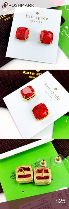 """Kate Spade square garnet red glitter earrings NWT Kate Spade garnet red glitter square stud earrings,     ● 0.5"""" wide / 13mm   ● 14K gold plated with stainless steel post,  Brand new with pouch, no gift box.  Great gift, Early shopping for Christmas!!!                Please check my store for other color and styles!! kate spade Jewelry Earrings"""