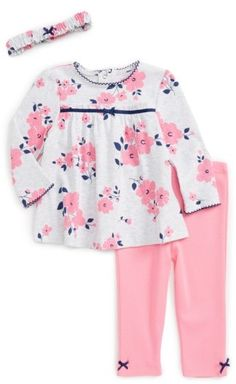 Infant Girl's Little Me Flower Tunic, Leggings & Headband Set