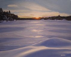 Sunset on Perry Lake, Muskoka, Ontario, Limited Edition Giclée Print on Fine Art Paper by artist Maureen McKay Winter Landscape, Limited Edition Prints, Fine Art Paper, Ontario, Giclee Print, Oil, Sunset, Artist, Landscapes