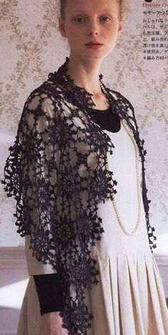 Crochet black shawl ♥LCP-MRS♥ with basic diagrams. ---- Шаль из мотивов крючком