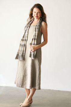 Flax Linen Clothing For Women | ... Pocketed Angled Dress Neutral in FLAX Clothing NEW : Flax Neutral 2013