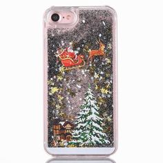 Christmas 3D Dynamic Glitter Stars Liquid Quicksand Hard PC Phone Back Case Cover For iPhone X 8 Plus 5 5S SE 6 6S Plus 7 Plus