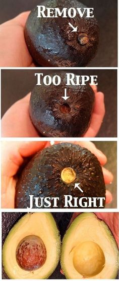 The easiest way to tell if an avocado is ready to eat: Tip: If you are only using half leave the pit in the other half. That way it won't brown as fast!!