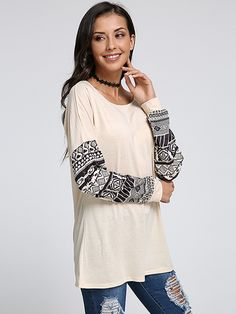 75b443451f Fashion Women Casual Long Pattern Stitching Sleeve T-Shirt