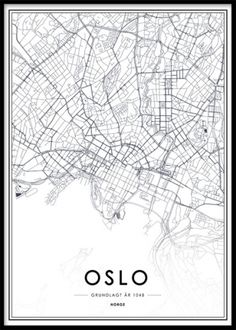 Black and white Oslo map