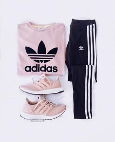 pink adidas sweatshirt and sneakers with black joggers. Visit Daily Dress Me at … pink adidas sweatshirt and sneakers with. Teenage Outfits, Teen Fashion Outfits, Mode Outfits, Sport Outfits, Trendy Outfits, Summer Outfits, Style Fashion, Sport Fashion, Outfits For Girls