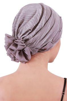 Plissée et perlée Détail Coiffe pour Perte de Cheveux, Cancer, Chimio (Light Grey): Amazon.fr: Vêtements et accessoires
