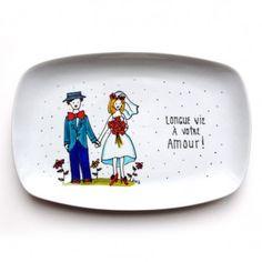 Assiette décorative • Longue vie à votre amour - Cadeau peint à la main par l'artiste Isabelle Malo http://www.isamalo.com