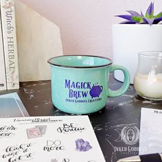 """Start your magick early by sipping on your witchy coffee or tea in this beautiful mug. It is a standard 8oz ceramic mug with """"Magick Brew"""" printed in IGC's signature purple. // #magick #kitchenwitch #coffee #tea #mug #ceramic #busywitch #pagan #witch #wicca Wicca, Magick, Kitchen Witchery, Pagan Witch, Cauldron, Preserve, Accent Decor, Brewing, Herbalism"""