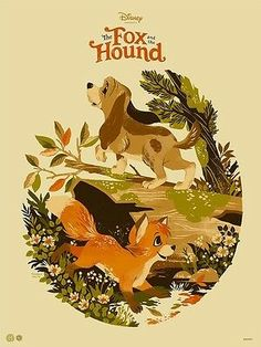 The Fox and The Hound Disney Movie Poster - Mondo x Cyclops