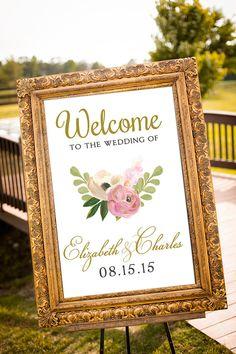 PRINTABLE - Blush & Gold Wedding Decor, Large Custom Wedding Sign, Hashtag Wedding Sign, Vintage Wedding, Welcome Sign