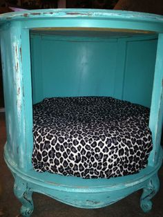 thrift store end table (sans doors) made into a pet bed