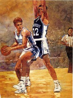 Christian Laettner, Duke – illustration by Bart Forbes, SI,1992.