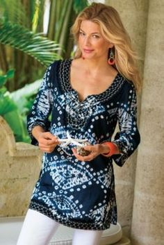 Antigua Tunic I - Tie Dye Tunic Top, Beach Cotton Tunic Coverup | Soft Surroundings