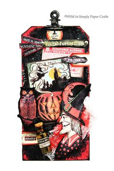 Mixed Media Tag Halloween A Walk On the Dark Side