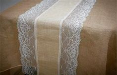 Burlap and lace table runner. These rustic burlap and lace runners are perfect…