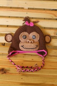 Made to order crochet monkey hat with pink bow by Alliehats on Etsy