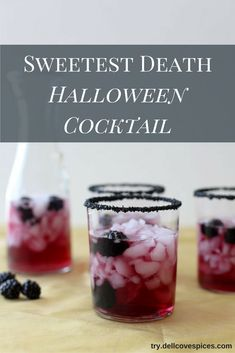 Sweetest Death Cocktail Recipe: a berry sweet Halloween drink cocktails idea and fun for entertaining at home. Our Midnight Black cocktail rim sugar adds a sweet sparkle! The citrus flavored vodka brings a brightness to the alcohol. This recipe is easy to make, and if you're looking for a witches brew to make in a bulk as a punch. Click on the link to get the recipe and get a DIY tutorial on how to sugar rim your glasses at http://try.dellcovespices.com via @dellcovespices