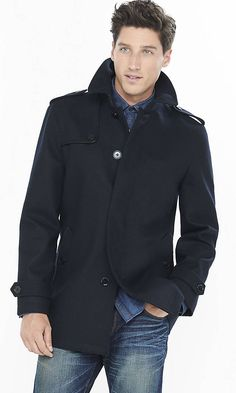 Navy Wool Commuter Coat | Express