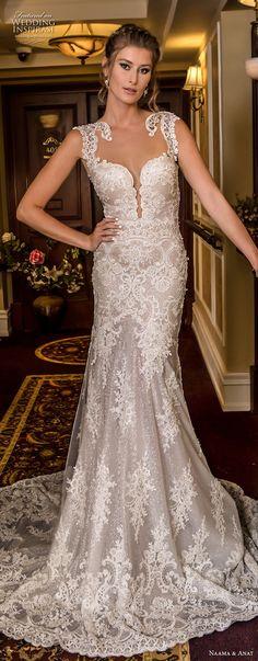 naama and anat fall 2018 bridal cap sleeves deep plunging sweetheart neckline full embellishment elegant trumpet wedding dress low open back medium train (2) mv -- Naama