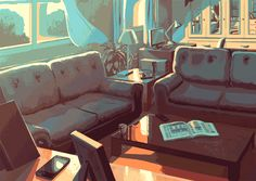 Empty room - Animated gif illustration by Juan Esteban Rodríguez