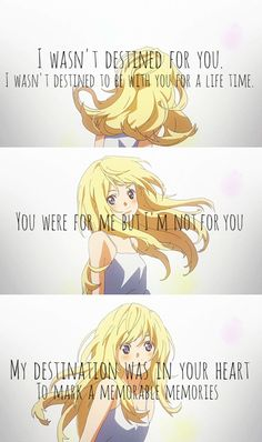 😭😭 I'm not crying. Sad Anime Quotes, Manga Quotes, Anime Couples Manga, Anime Guys, April Quotes, Miyazono Kaori, Your Lie In April, Pretty Quotes, Bleach Anime