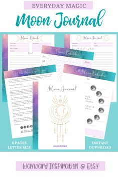 The Moon Journal is designed to help you get back in touch with the power of the moon. This journal is a 6 page PDF - INSTANT DOWNLOAD - and features the following:  ♥️ Cover Page ♥️ Instructions & Moon Phases Information ♥️ Lunar Calendar Yearly Tracker ♥️ Full Moon Yearly Tracker ♥️ Moon Ritual Template ♥️ Moon Journal Page