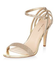 Gold Textured Ankle Strap Heels  | New Look
