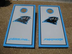 Carolina Panther boards awesome custom cornhole boards Custom Cornhole Boards, Corn Hole, Carolina Panthers, Yard, How To Plan, Awesome, Patio, Courtyards, Garden