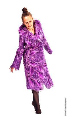 Купить Пальто из мохера Фиолетовая сказка - фиолетовый, абстрактный, декоративные элементы, дизайнерская одежда, пальто