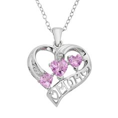 Lab-Created Pink Sapphire & Diamond Accent Sterling Silver Heart Mom Pendant, Women's, Size: 16""