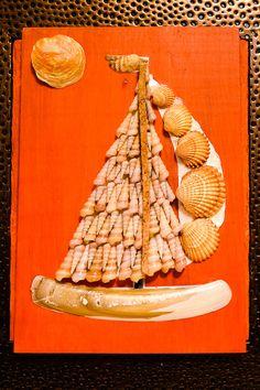 Vela de barco miniatura Original mosaico de por allaexpression